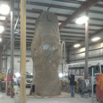 Portable rock wall in our shop for repairs